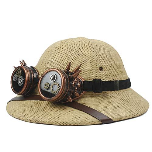 SHENLIJUAN 2019 Steampunk Brille toquilla Stroh Helm Mark sonnenhüte für männer Vietnam Krieg Armee Hut Papa Boater Eimer hüte Safari Jungle Miners Cap * (Farbe : Beige, Größe : 57-58 cm) (Stroh Boater Hut Kostüm)