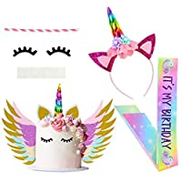 Beinou Unicorn Cake Topper Unicorn Birthday Party Supplies Favor Set with Horn, Ears, Eyelashes, Rainbow Unicorn Headband with Birthday Girl Sash for Kids
