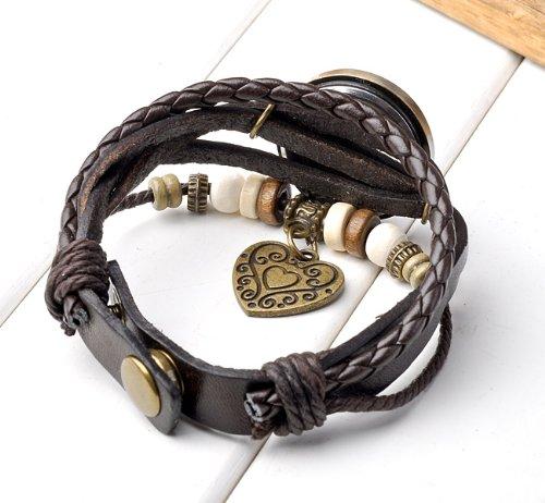 JSDDE Uhren Vintage Wickelarmband Damen Armbanduhr Lederarmband Bronze Herz Anhänger Holzperlen Analog Quarz Uhr, Dunkelbraun - 3