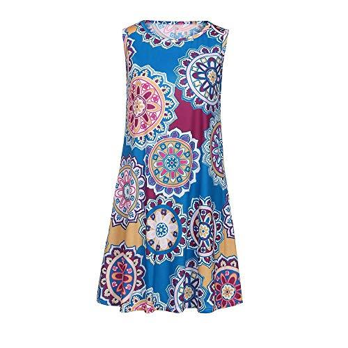 (KIMODO Women's Summer Vintage Boho Mini Dresses Random Floral Print Sleeveless Crew Neck Sundress Maxi Evening Party Beach Floral Dress)
