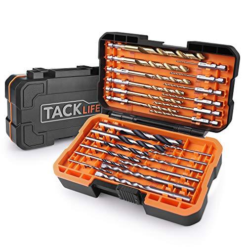 Juego de Brocas TACKLIFE DB02 24 Puntas Profesional, 12 PCS para Metal, 6 PCS para Concreto, 6 PCS para Madera, Adecuado para Una Variedad de Lugares