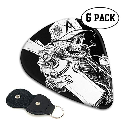Spray Painting Skull Monkey Celluloid Guitar Picks Premium Picks 6 Pack for Guitar,Mandolin,and Bass 0.46mm, 0.71mm, 0.96mm Optional with PU Leather Pick Holder 0.46mm -