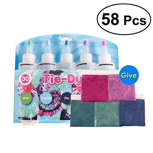 ROSENICE 58 Stücke Tie Dye Kit Stoffmalfarben 5 Farben mit Gummiband und Einweg-Handschuhe (Gummibänder Tie Dye)