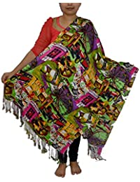 Sanvitta's Digital Print Viscose Satin Stole Shawl Wrap Green Combo