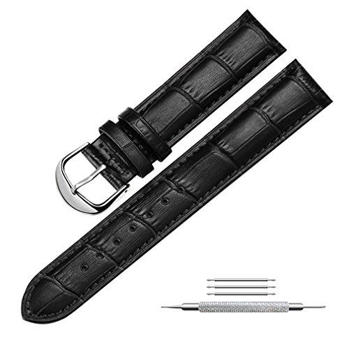 Uhrenarmband Echtem Leder Armband Ersatz Uhrenarmbänder für Herren und Damen, Fit für Traditionelle Uhren, Business Uhren und Smart Uhren 24mm Schwarz