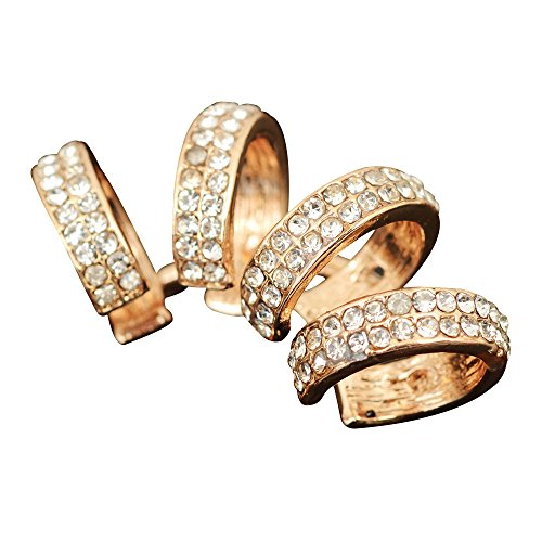 Contever® 1x Fake Piercing Quadruple Plain Ring Ring Cuff Clip Ohrklemme Ohrring - Ohne Loch (Gold) (Cuff Ear Plain)