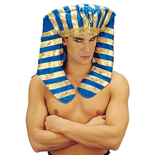 Ramses Kostüm - Amakando Pharao Hut Ägyptische Kopfbedeckung Ägypter Kopfschmuck Fasching Pharaonen Mütze Ramses Cheops Tutenchamun Ägypten König Haarschmuck Antike Mottoparty Accessoire Karneval Kostüm Zubehör