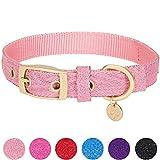 Blueberry Pet Begehrteste Designer Misch-Glanzfaden Hundehalsband in Leuchtend Lametta Rosa mit Metallschnalle, S, Hals 23cm-32cm, Verstellbare Halsbänder für Hunde