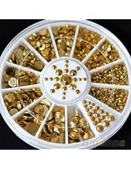 Yeah67886DIY 3d Acrylique Paillettes en métal doré Strass 5tailles Nail Art Décoration