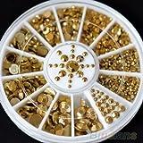 yeah67886DIY 3D Acryl Glitzer Metall Golden Strass 5Größen Nail Art Dekoration