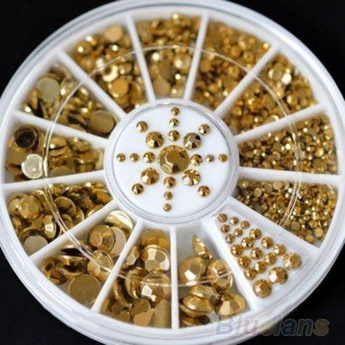 Maniküre 3D-Kristalle Glitter Gold Rivet Nagel Dekoration