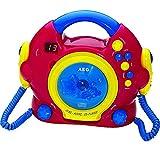 Tragbarer CD-Player Karaoke-Funktion 2 Mikrofonen Kinder Discman CD-Spieler (Tragegriff, Bunt, LED-Display, Kopfhöreranschluss)