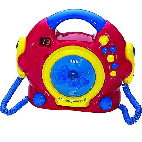 AEG Tragbarer CD-Player Karaoke-Funktion 2 Mikrofonen Kinder Discman CD-Spieler (Tragegriff, Bunt, LED-Display, Kopfhöreranschluss)