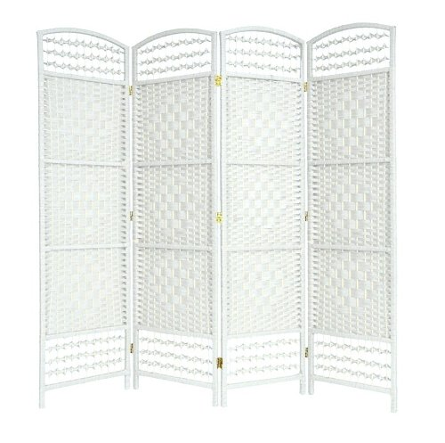 white-4-panel-hand-made-wicker-room-divider-partition-privacy-screen-next-working-day-delivery