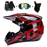 CYX-OUTDOOR Casque Motocross Adulte MX Moto Casque VTT Scooter Tout-Terrain Casque D.o.t AM Casque intégral avec Lunettes de Protection/Masque Coupe-Vent/Gants (Style 8),4,M