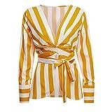 OSYARD Damen Schnür-Gestreifter Anzug, Frauen Langarm Gestreift Mit GüRtel Sexy V-Ausschnitt Casual Bluse Top Shirt (XL, Gelb)