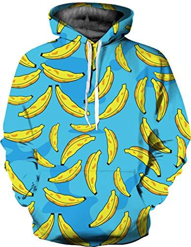 WYxiaobaozi 3D Druck Hoodie Unisex.Casual Unisex Sweatshirt 3D Gedruckt Gelbe Banane Hoodie Sweatshirt Hoodie Pullover Mit Taschen Paar Jacke - Yx0141-Baseball Uniform Für Schüler Top Coat-L/XL