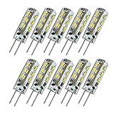 Liqoo® 10 x LED G4 lampada lampadina 1.5W LED caldo/freddo bianco sostituisce 10W 100 lumen DC 12V 360 °Angolo 9 x 36 millimetri non regolabile