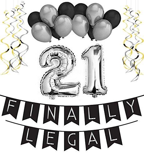 irlande – Schwarz & Gold Deko Geburtstag, Luftballons, Pom Poms und Spiralgirlande Silber – Party Zubehör (Safari Party Supplies)