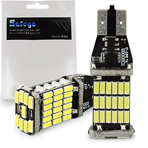 Preisvergleich Produktbild Safego 1000 Lumen extrem helle Canbus Fehlerfrei 921 912 T10 T15 W16W 45-SMD ak-4014 zusammenrollbar Chipsätze LED Leuchtmittel für Backup Reverse Lichter Rücklicht Xenon Weiß 6000K (2 Stück)
