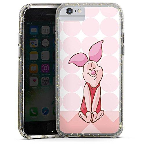 Apple iPhone 7 Plus Bumper Hülle Bumper Case Glitzer Hülle Disney Winnie Puuh Ferkel Merchandising Pour Supporters Bumper Case Glitzer gold