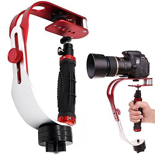 AFUNTA Pro Tragbare Kamera-Stabilizer-Steady (geeignet für DSLR Kameras bis zu 2,1 lbs) rot-silber-schwarz (Cam Go Pro Steady)