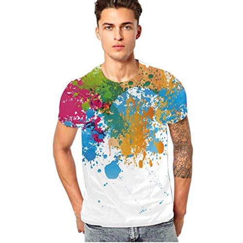 GreatestPAK Buntes Bedrucktes T-Shirt Sommer Frühling Männer Shirt Tops,Weiß,XXXL