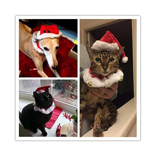 2pcs-Christmas-Collar-and-Hat-For-Small-Pet-Kitten-Doggy-Santa-Hat-Collars-Necktie-with-Bell-Cat-Dog-Christmas-Costume-Set-Winter-Clothes-Warm-Soft-Lovely-for-Kitty-Puppy-Sweet-Gift
