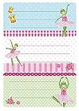 Herma 5523de nom Manche Étiquettes pour l'école motif grenouille Ballerine, format 7,6x 3,5cm, pailletés, contenu: 6étiquettes par paquet