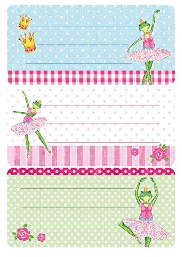 Herma 5523 Buchetiketten Schule, Motiv Frosch Ballerina, Inhalt: 6 Schuletiketten für Schulhefte, Format 7,6 x 3,5 cm, beglimmert (Glitter-ballerinas Kinder)