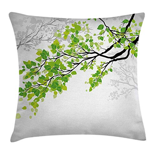hrow Pillow Cushion Cover, Twiggy Spring Tree Branch with Refreshing Leaves Summer Peace Woods Graphic, Decorative Square Accent Pillow Case, 18 X18 Inches, Green Grey ()