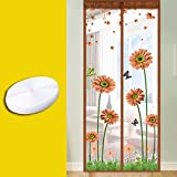 DW&HX Magnet Tür Vorhang,Heavy-Duty Verstärkte Mesh & Full-Frame Velcro Anti-insektenschutz Haustierfreundlich Magnet fliegengitter -E 43x87inch(110x220cm)