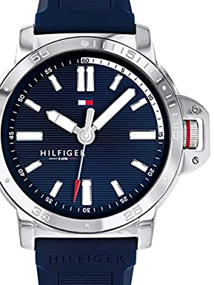 Tommy Hilfiger 1791588 Reloj Hombre Cuarzo Acero Tamaño 44 mm Caucho Azul