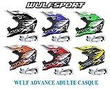 Casque moto adulte WULF ADVANCE ADULTE CASQUE motocross Quad MX Enduro hors route Sports ACU ECE Casque + moto x1 Lunettes blanc (noir, S)