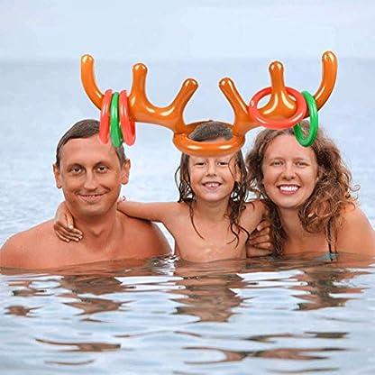 BUYGOO 19 PCS Sombrero de Asta de Navidad, Juegos de Lanzamiento para Fiestas Juego de Anillos de Lanzamiento Aros Piscina Deportes para Padres E Hijos
