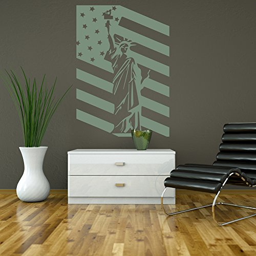 Statua della Libertà bandiera USA Bandiera degli Stati Uniti America Wall Sticker decalcomanie di arte disponibile in 5 dimensioni e 25 colori Extra Grande
