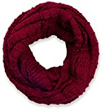 styleBREAKER Strick Loop Schal kariert, Uni Feinstrick Schlauchschal, Winter Strickschal, Unisex 01018154, Farbe:Bordeaux-Rot