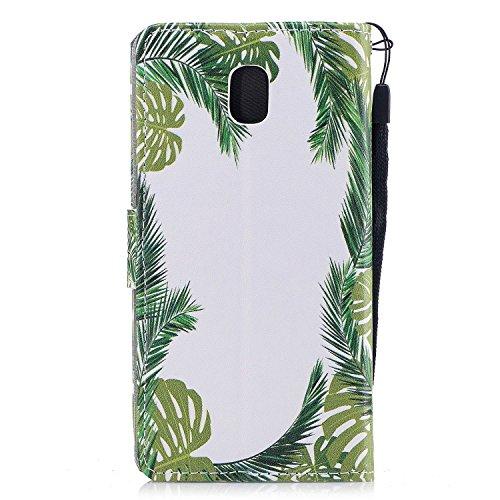 Linvei Samsung Galaxy J7(2017)(Version européenne)Coque,[Conception de Motif Coloré][PU Cuir Housse][Portefeuille Flip][Stand Soutien/Card Slot /Fermeture Magnétique] - Plante tropicale verte Plante tropicale verte