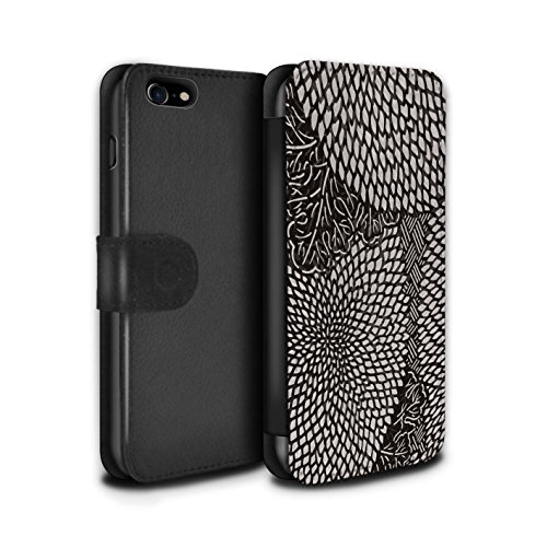 Stuff4 Coque/Etui/Housse Cuir PU Case/Cover pour Apple iPhone 8 / Tuiles Symétrie Design / Mode Noir Collection Pétales Minuscules