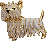 Jodie Rose Polished Gold Colour Metal Yorkshire Terrier Brooch with White and Black Enamel