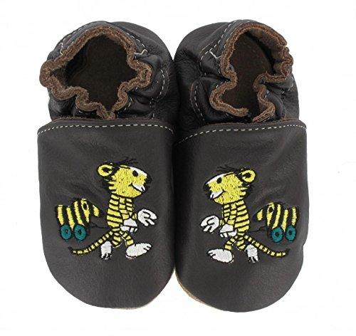HOBEA-Germany Krabbelschuhe Janosch Tiger mit Tigerente in verschiedenen Farben, Größe Schuhe:18/19 (6-12 Mon);Uni Schuhe:braun