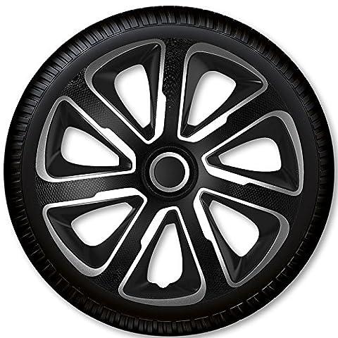 4 Radkappen Radzierblenden Livorno Carbon Silver & Black - 4-er Set (16