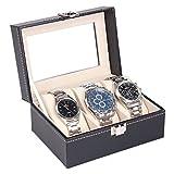 #8: High Quality 3 Slots Wrist Watch Storage Box Display Case Organizer with Faux Leather Finish and Glass Window ( 16 X 11 X 8 CM) by Kurtzy