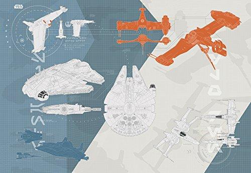 Komar - Star Wars - Fototapete TECHNICAL PLAN - 368 x 254 cm - Tapete, Wand Dekoration, Raumschiff, Kampfjets - 8-4001