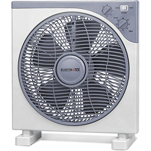 ELECTROTEK Ventilador Cuadrado de 12 cm. de diámetro con Temporizador de 2...