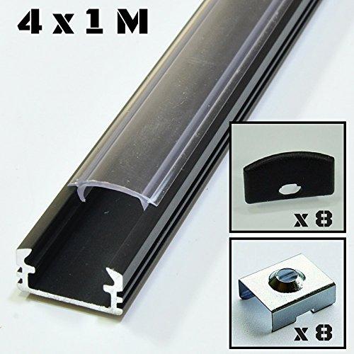 Lote de 4 x 1 metro perfil de aluminio P2 negro para tiras LED con cubierta transparente, tapas y grapas de montaje incluidas