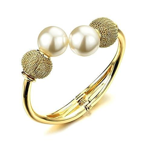 AnaZoz Bracelet Manchette Alliage Femme Freshwater Perle Open End Tail Or 17CM