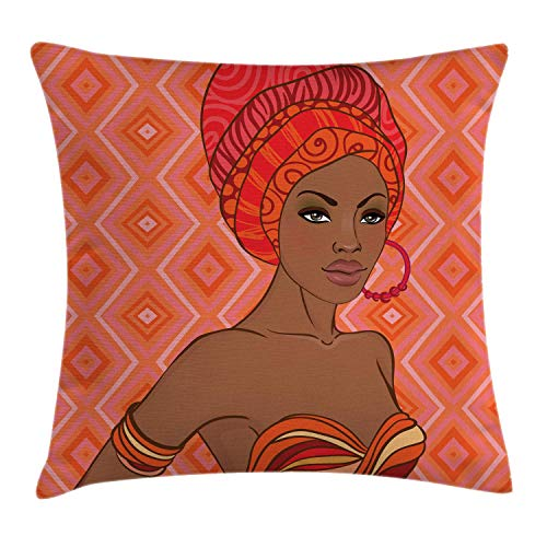 DPASIi African Throw Pillow Cushion Cover, Portrait of African Woman in Ethnic Dress Zulu Inspired Tribal Graphic Print, Decorative Square Accent Pillow Case,Scarlet Umber 18x18inch Bow Print Silk Dress