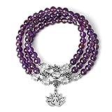 CrystalTears 108 Perlen mala Kette Wickelarmband Tibetische Buddhistische gebetskette Armband Meditations Stein Halskette mit Lotus Buddha schmuck (Amethyst)