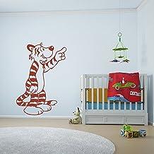 Historieta del tigre Guardería Infantil & Bebé vinilos decorativos Inicio decoración art pegatinas disponible en 5 tamaños y 25 colores X-Grande Blanco